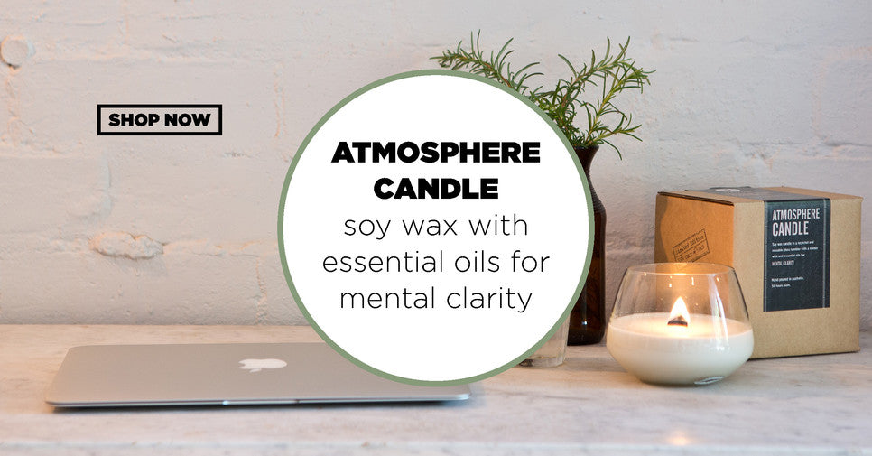 Soy wax candle with wooden wick and essential oils for mental clarity