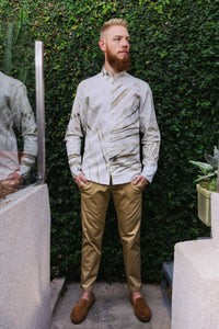 "Printed linen shirt ""Inspired"" with Long pants ""Sand and sea"""