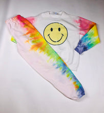 Load image into Gallery viewer, Smiley Face with Rainbow Arms Crew Neck