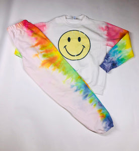 Smiley Face with Rainbow Arms Crew Neck
