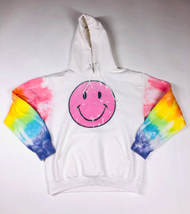 Smiley Face with Rainbow Arms Hoodie