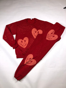 Red smiley heart sweats