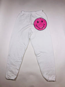 White Smiley Face Joggers/Sweatpants