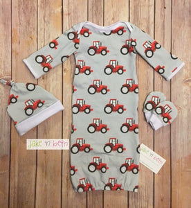 Baby gown, knot hat, and no scratch mittens, newborn set, tractors