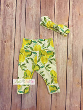 Load image into Gallery viewer, Baby girl pants and top knot headband, baby set, going home outfit, newborn baby outfit, lemons