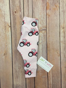 Tractor baby pants, toddler pants, pink tractors, country girl