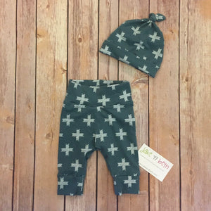 Baby pants and knotted hat, baby set, going home outfit, newborn baby outfit