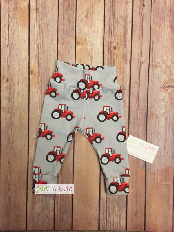 Tractor baby pants, toddler pants, red tractors, farm baby