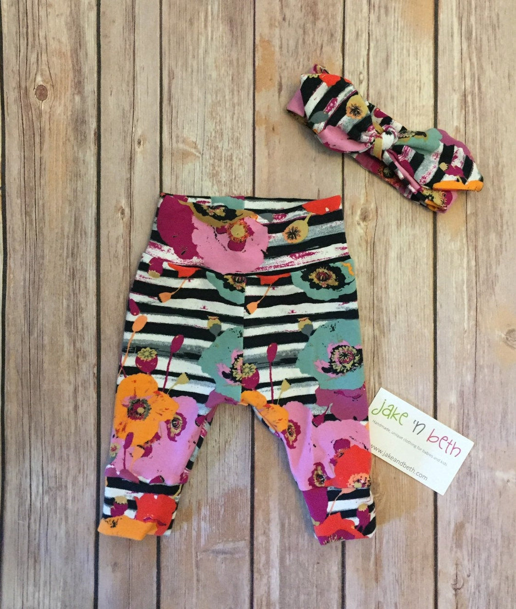 Floral baby pants and top knot headband, baby set, going home outfit, newborn baby outfit