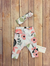 Load image into Gallery viewer, Baby girl pants and top knot headband, baby set, going home outfit, newborn baby outfit