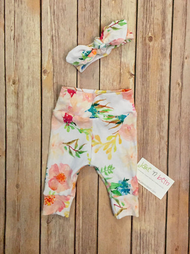 Baby girl pants and top knot headband, baby set, going home outfit, newborn baby outfit