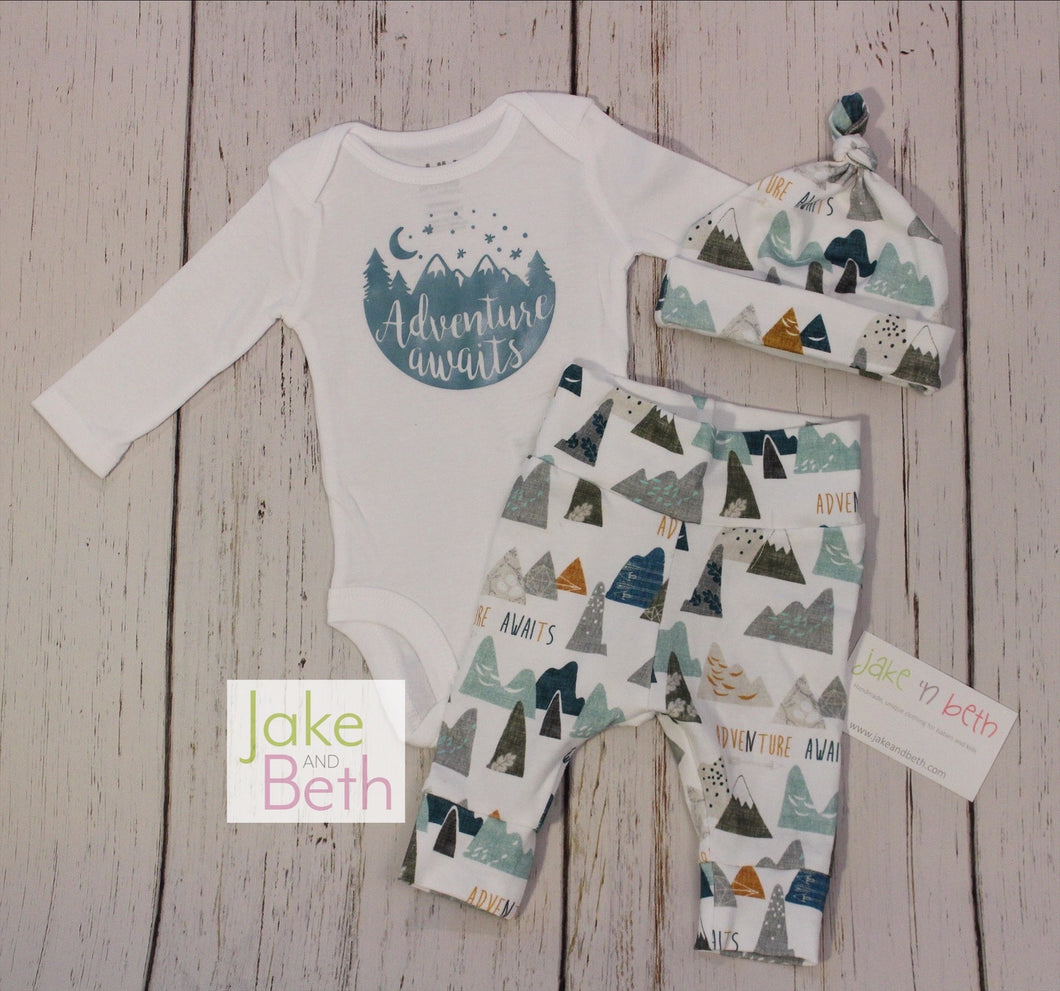 Baby boy set, pants, hat and bodysuit set, boy coming home set, baby shower gift