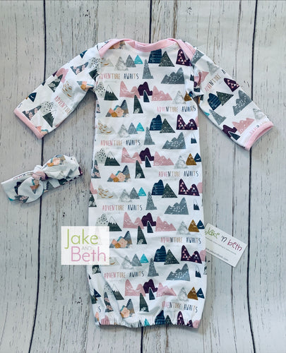 Adventure Awaits baby gown set, newborn set, going home outfit, baby shower gift