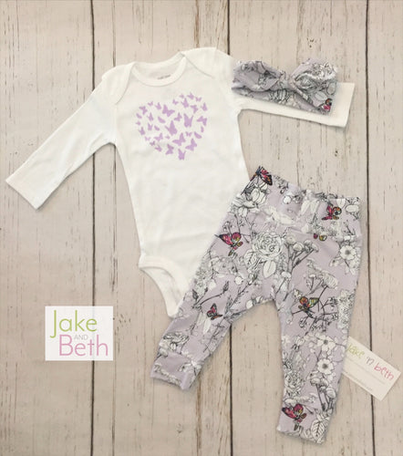 Baby girl set, pants, headband and bodysuit set, girl coming home set, baby shower gift, butterflies