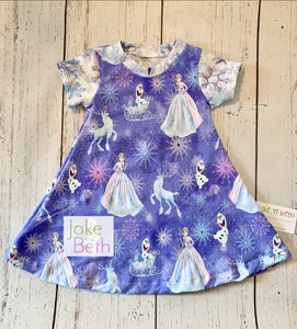 Girls dress, spring casual dress, baby dress, Frozen