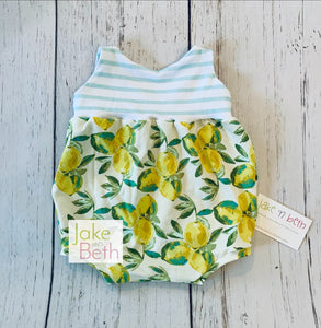 Lemon bubble romper, Kids rompers, baby rompers, SLIP-ON SNAPLESS romper