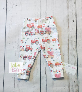Valentine's Day baby pants, toddler pants, tractors