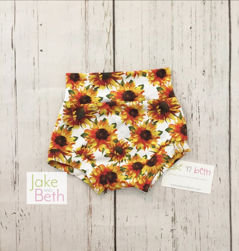Floral baby bummies, toddler bummies, sunflowers