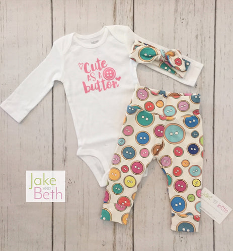 Baby girl set, pants, headband and bodysuit set, girl coming home set, baby shower gift, cute as a button
