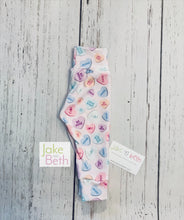 Load image into Gallery viewer, Valentine's Day baby pants, toddler pants, hearts and donuts