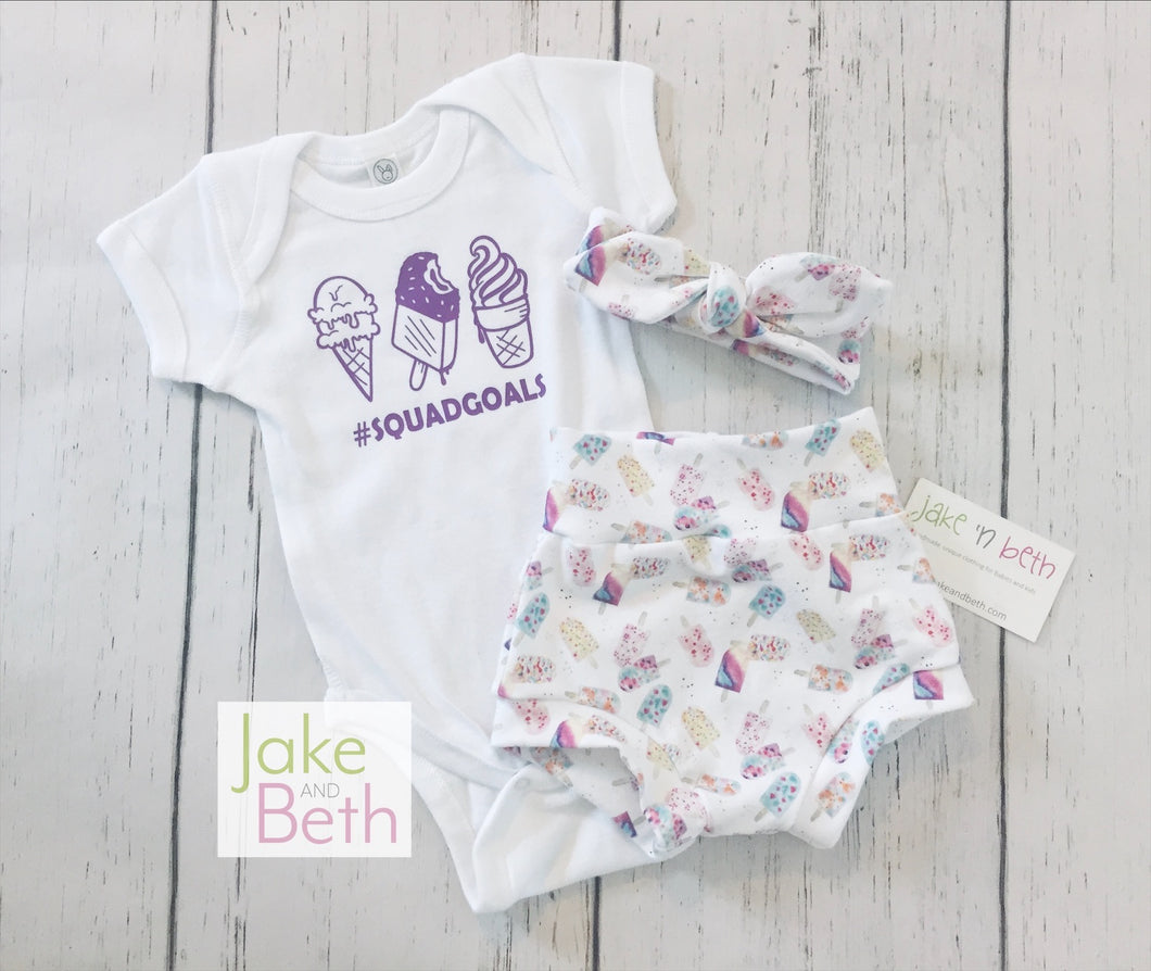 Summer girl set, bummies, headband and bodysuit set, girl coming home set, baby shower gift, July 4th baby