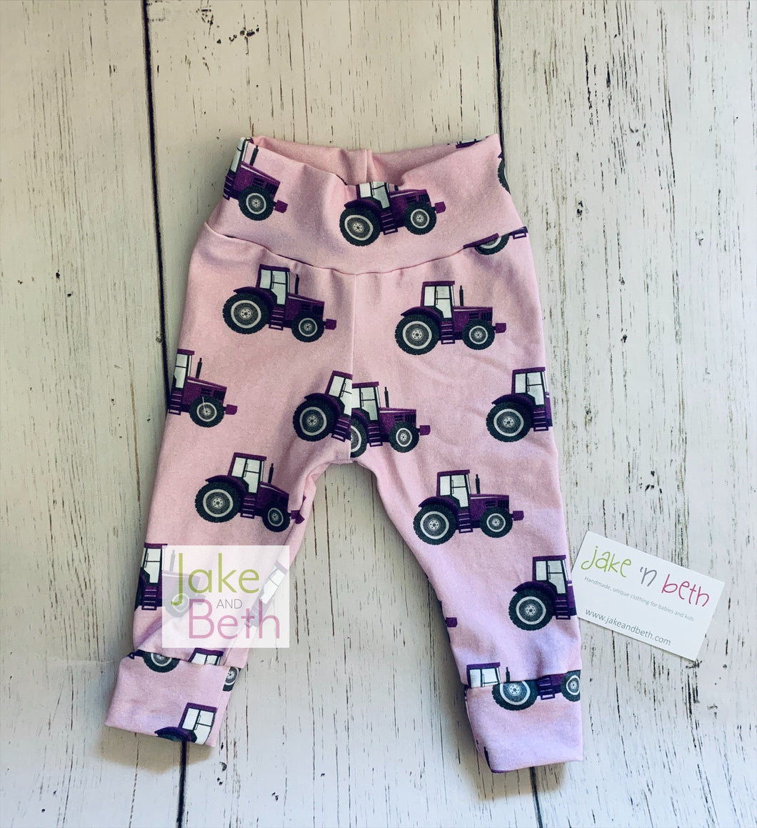 Tractor baby pants, toddler pants, purple tractors, country girl