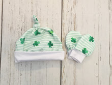 Load image into Gallery viewer, St Patrick's Day baby set, Gender neutral baby gown set, newborn set