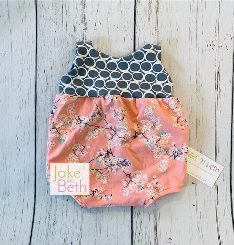 Floral bubble romper, Kids rompers, baby rompers, SLIP-ON SNAPLESS romper