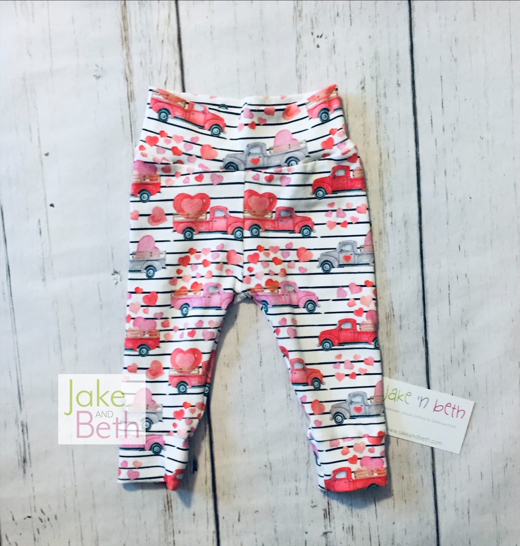 Valentine's Day baby pants, toddler pants, trucks