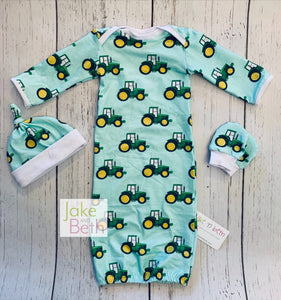 Baby gown set, newborn set, baby shower gift, green tractors