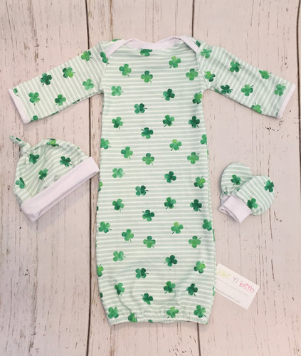 St Patrick's Day baby set, Gender neutral baby gown set, newborn set