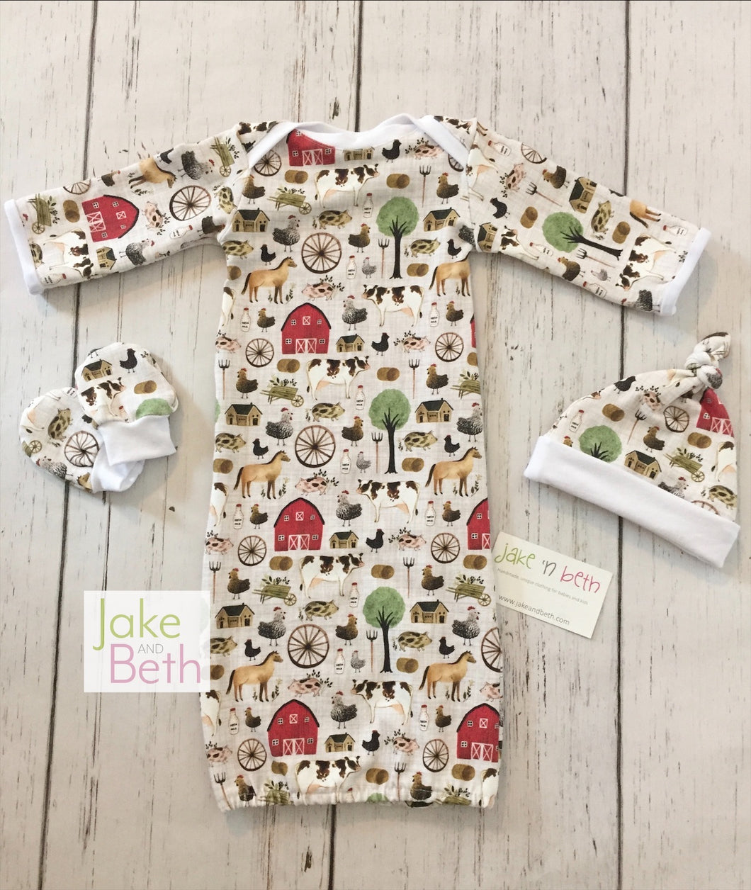 Baby gown set, newborn set, baby shower gift, farm