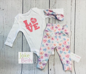 Valentine's Day baby girl set, pants, headband and bodysuit set, girl coming home set, baby shower gift