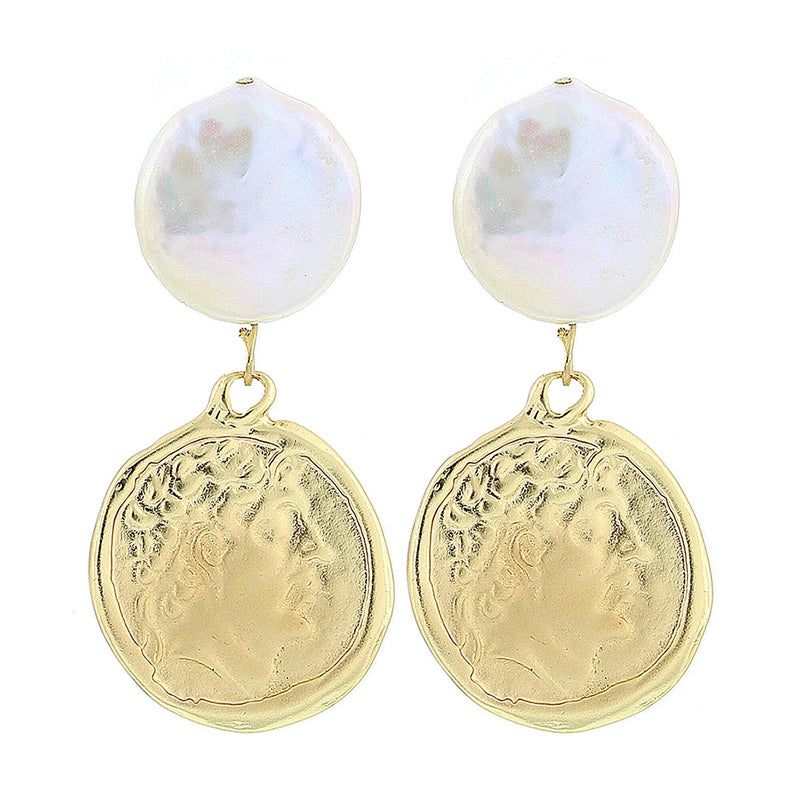 PEARL AND GOLD MEDAL EARRINGS
