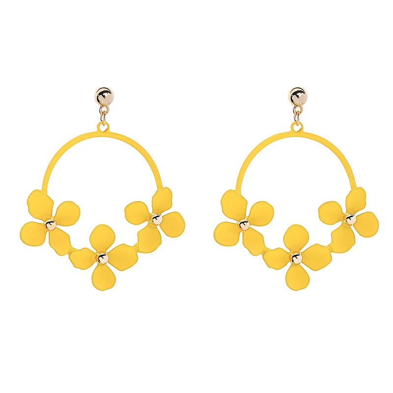 MULTI FLOWER HOOP EARRINGS