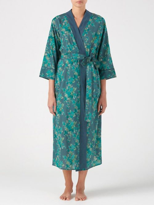 LONG COTTON DRESSING GOWN KIMONO