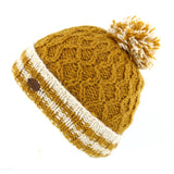 CABLE BOBBLE HAT WITH TURN UP