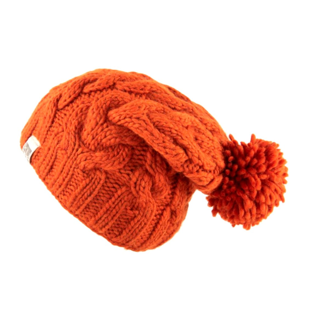 THICK YARN CABLE BOBBLE HAT