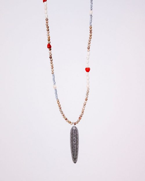 LONG BEAD NECKLACE WITH  SPEAR PENDANT