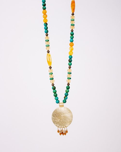 STONE AND CRYSTAL NECKLACE WITH MEDALION