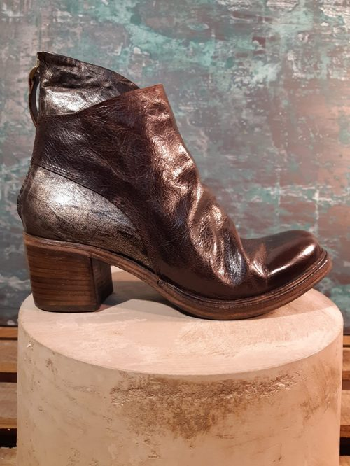 METALIC LEATHER ANKLE BOOTS