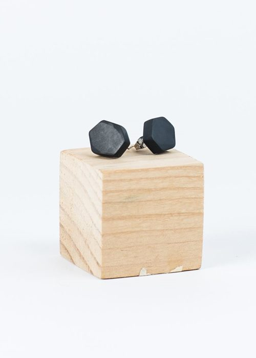 BLACK RESIN HEXAGON EARRINGS