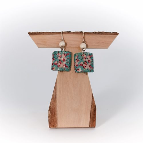 FLORAL PRINT BOX EARRINGS