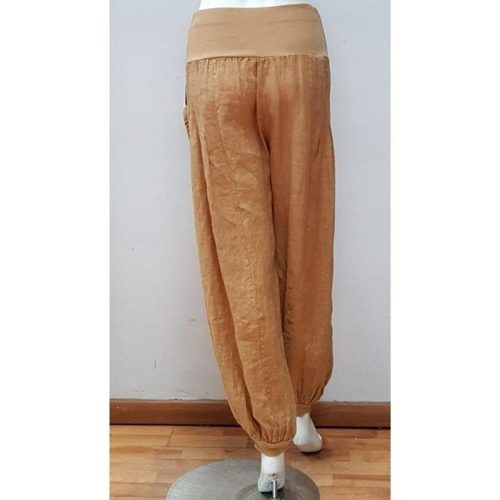 LINEN TROUSERS WITH WIDE WAISTBAND