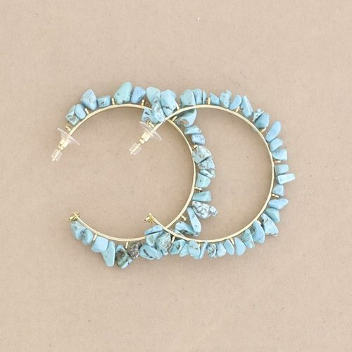 CHUNKY STONE HOOP EARRINGS