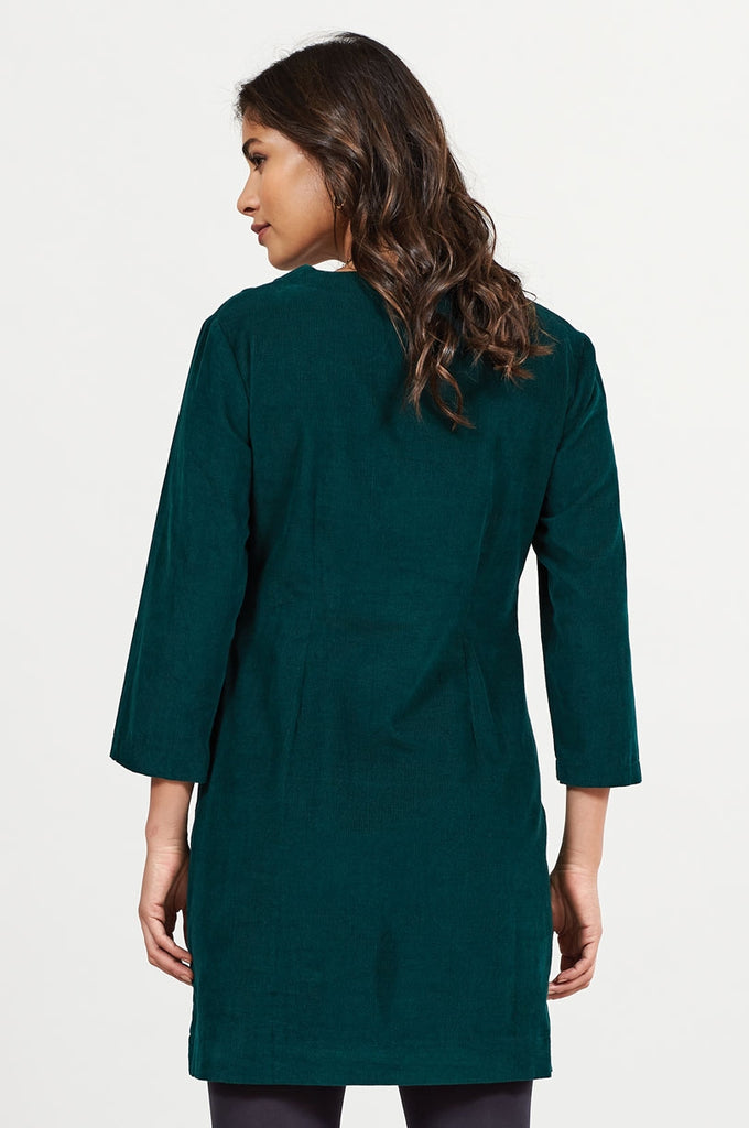 SQUARE NECK CORD TUNIC DRESS