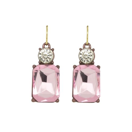 LIGHT PINK WITH CRYSTAL TOP EARRINGS