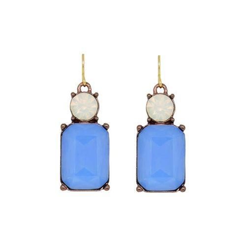 MATTE BLUE WITH WHITE TOP EARRINGS