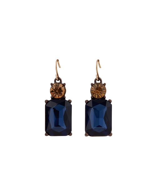 NAVY WITH ORANGE TOP CRYSTAL EARRINGS