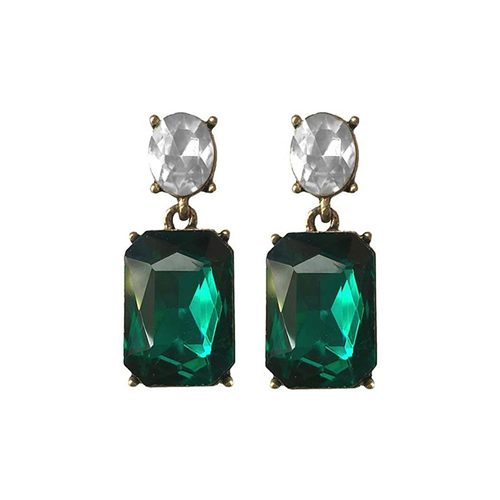 NEW GREEN AND CRYSTAL EARRINGS